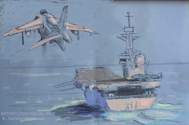 Boceto digital del avión Harrier aterrizando sobre portaaviones Príncipe de Asturias