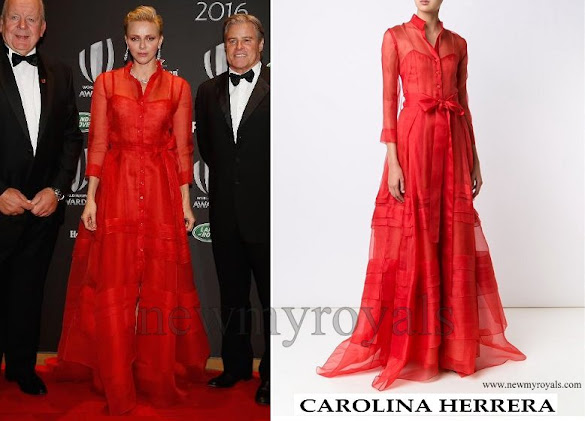 Princess Charlene wore Carolina Herrera Gown