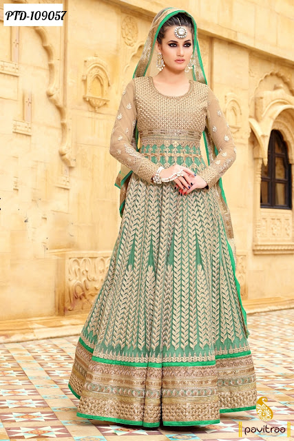 Sea Green Color Semi Stitched Party Wear Suit Online Shopping with Discount Offer Price in India