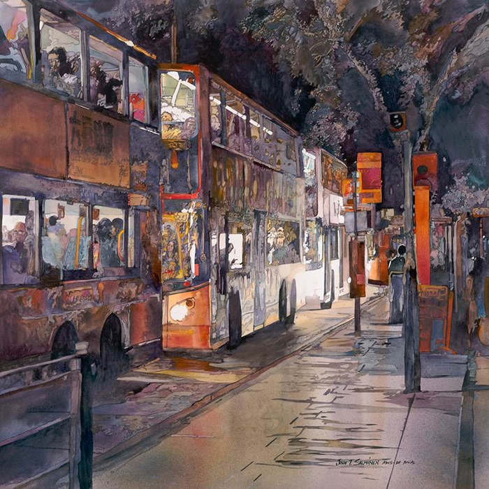 06-Double-Deckers-John-Salminen-Watercolor-Paintings-Taking-Glimpses-into-our-Life-www-designstack-co