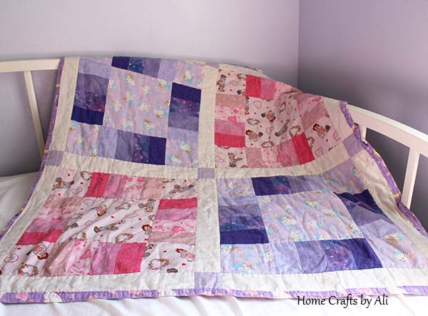 hello kitty and raggedy ann pink and purple quilt