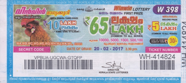 Kerala lottery result official copy of Win Win-W-216