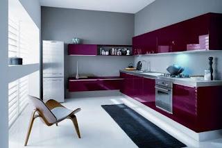 diseño de cocina moderna morada