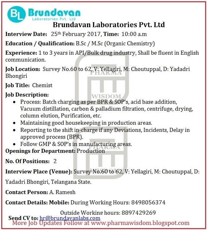 PHARMA WISDOM: Brundavan Laboratories - Walk-In Interviews for ...