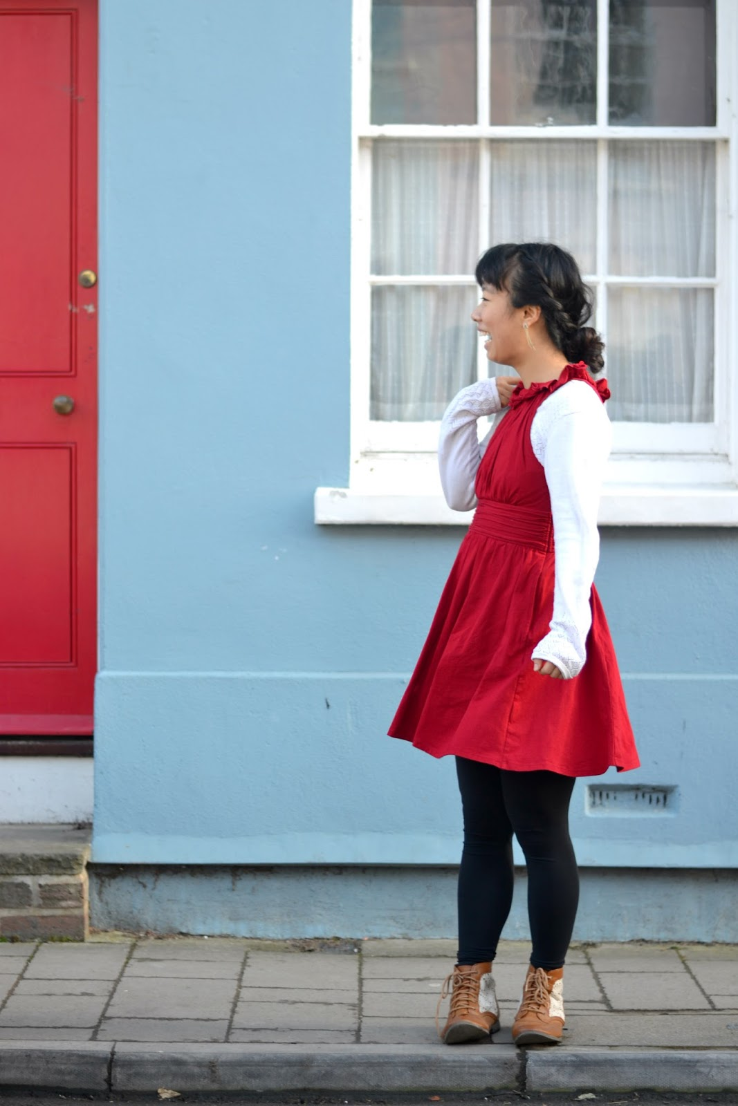 ruched red dress outfit