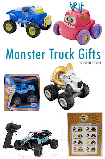 Monster Truck gift guide for kids from In Our Pond #christmas #giftguide #toys #holidays #boytoys