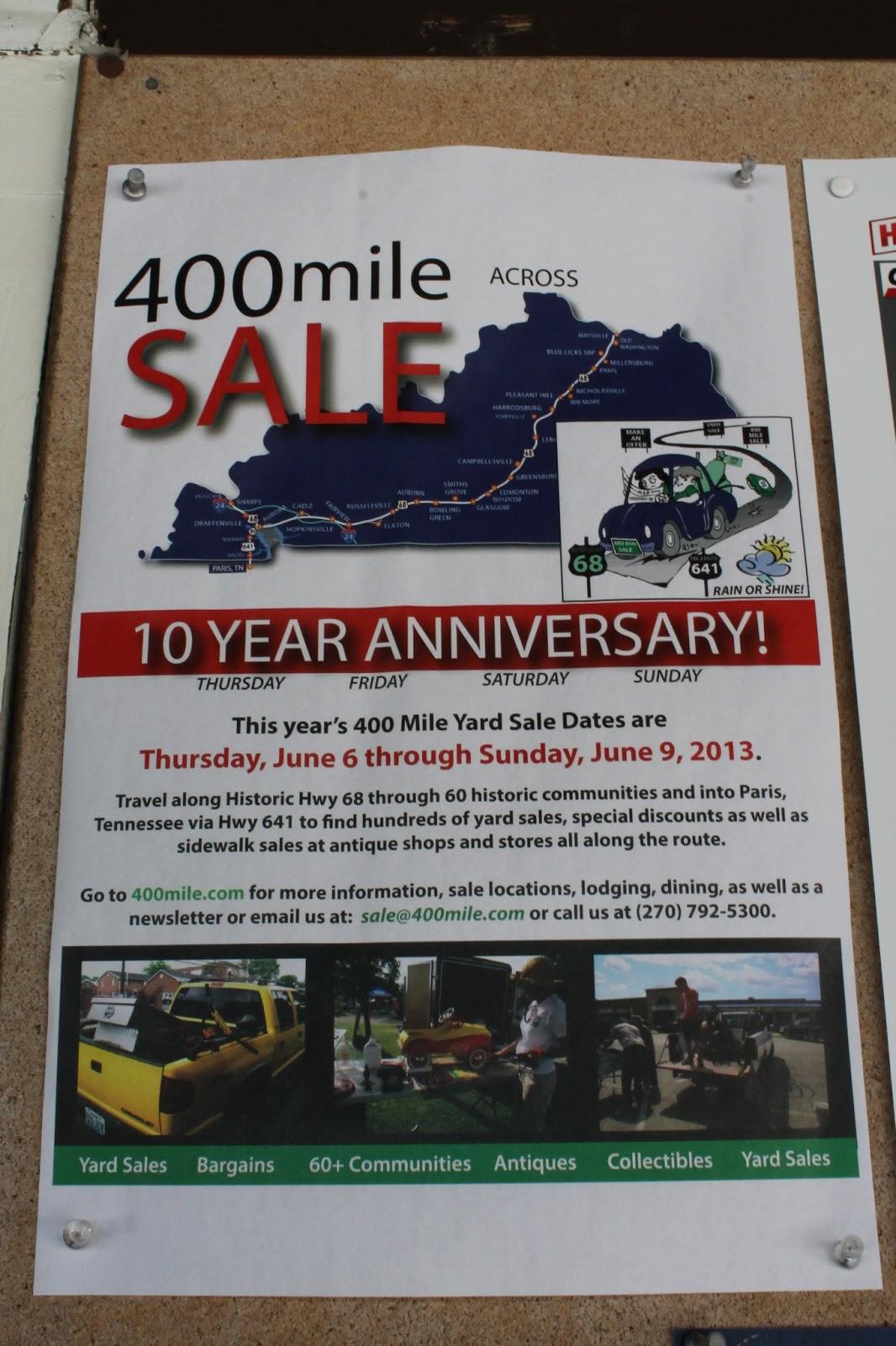 Snug Harbor Bay: Kentucky 400 Mile Yard Sale