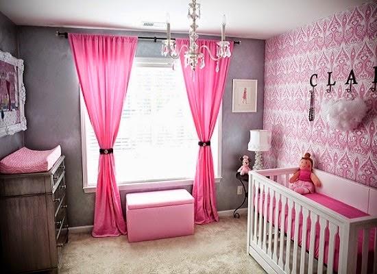 Cuarto bebé paredes rosa