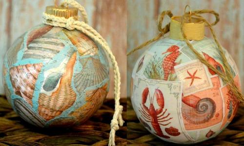 Coastal Decoupage Ornaments