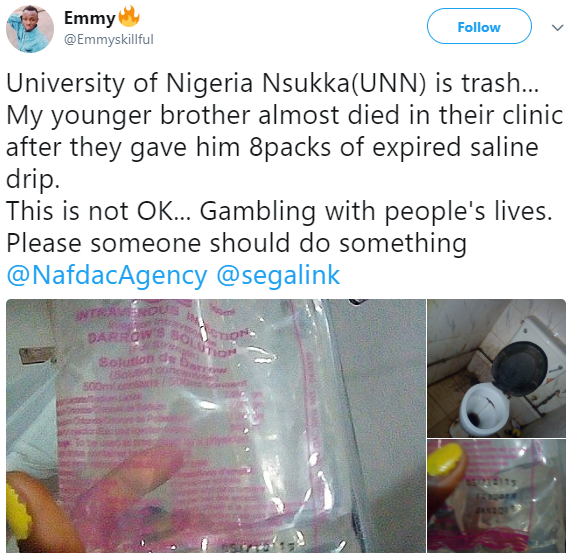 Patient injected with expired drip at the University of Nigeria Nsukka clinic