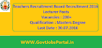 Teachers Recruitment Board Recruitment 2016 for 200+ Lecturers Apply Here