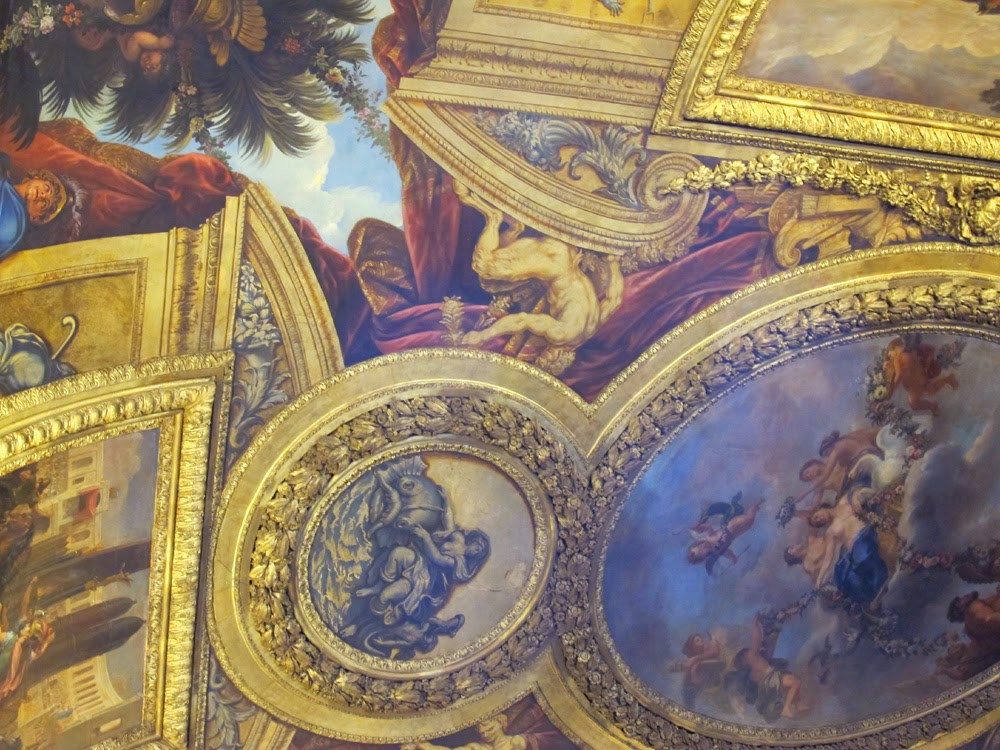 gilt gold ornate ceiling Palace of Versailles