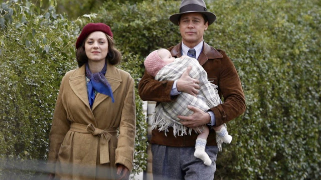 A Still from Robert Zemeckis' Allied, family, Brad Pitt, Marion Cotillard