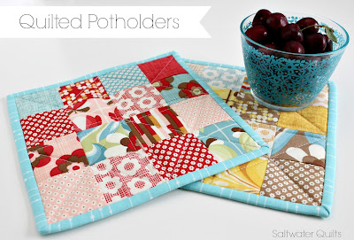 Quilted Patchwork Potholders | © Saltwater Quilts 2013