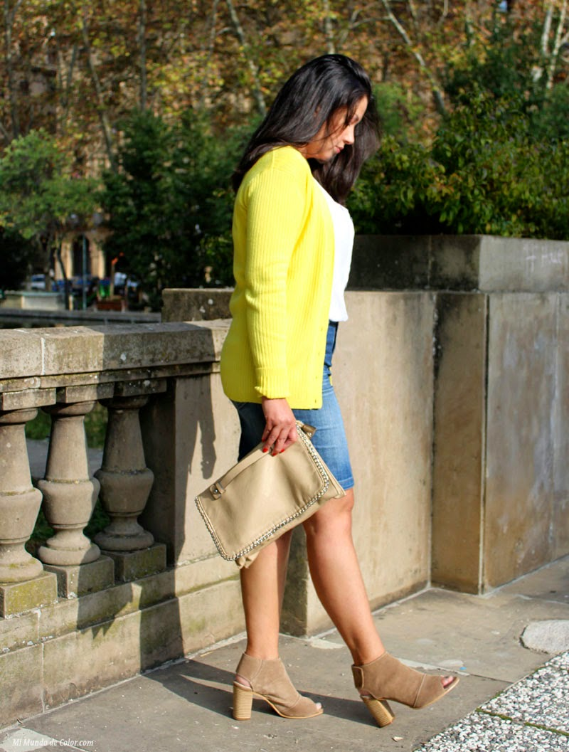 yellow cardigan, jean skirt pencil, leather heels