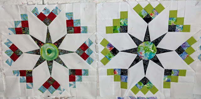 Left: fourth fabric for the center. Right: repeat fabric for center.
