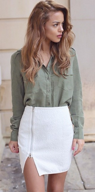 business style perfection: shirt + white skirt
