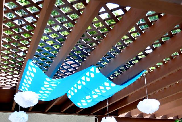 a temporary shade cloth for the patio
