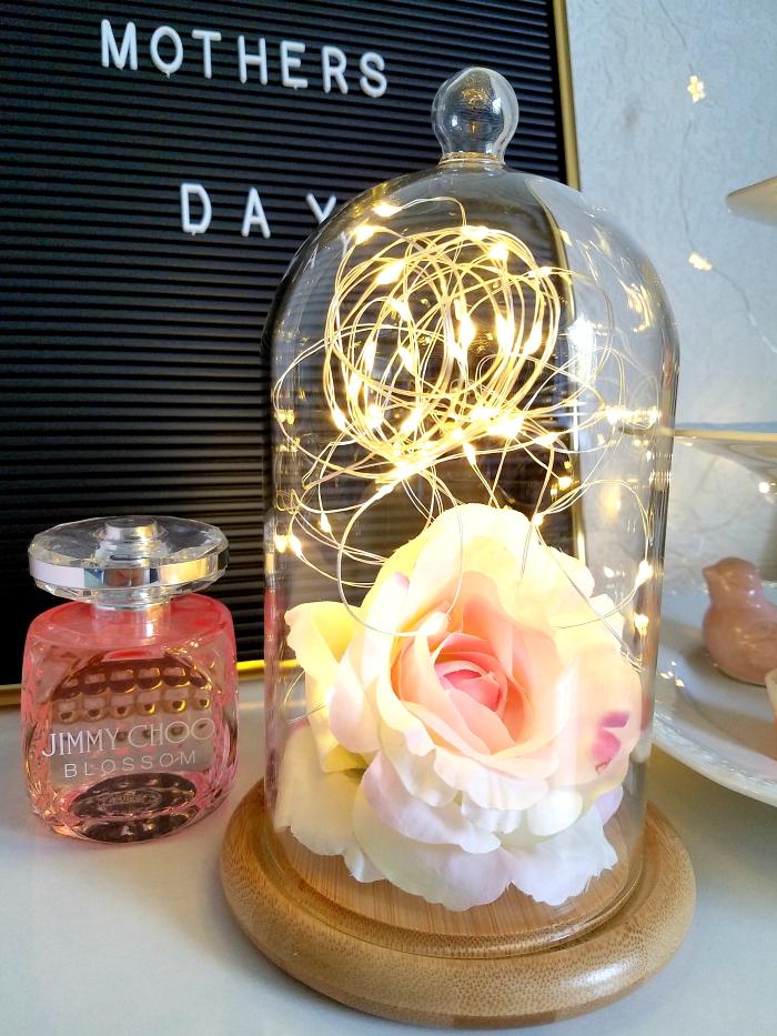 Geschenkidee Muttertag 2018 - Glasglocke mit Micro Lichterkette von Lights4Fun & schnelle DIY Idee unter 20 Euro 2