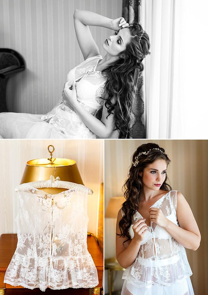 Ideen für romantische Brautboudoir Fotos im Hotel.