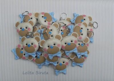 Chaveiros ursinhos para lembrancinhas de meninos