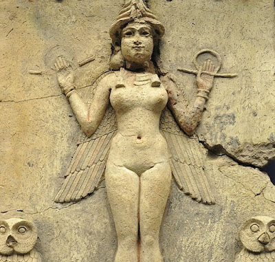 """This 4,000-year-old relief, known as the Burney Relief, came from the Babylonian civilization.  The figure is probably the goddess Ishtar who was associated with the planet Venus and was known as the """"Queen of Heaven."""""""