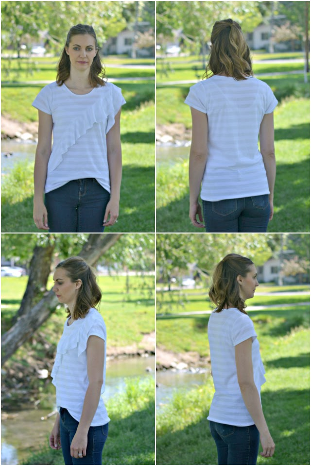 Me Made: Diagonal Ruffle Front Tee DIY