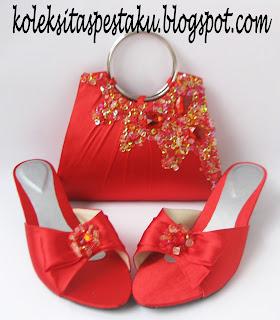 Tas Pesta dan Sepatu Pesta Merah Cantik