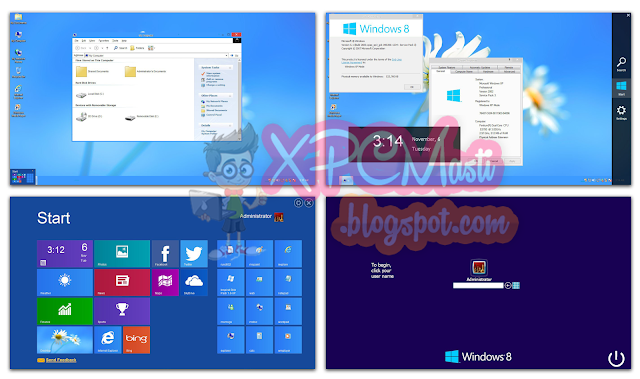 Windows 8 Skin Pack For Windows XP Free Download 100% Working at XPCMasti.blogspot.com