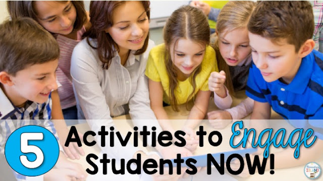 Activities to engage students in learning can be hard to come by.  That's why I have gathered 5 new activities that you can use in the classroom to help break the boring routine and offer some worksheet alternatives.  Teachers can use these ideas to supplement their curriculum and make learning fun again!  These tips can be used in math and reading and will have the kids excited to learn in kindergarten, first grade, second grade, and third grade. #math #engage #elementaryisland