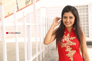 Telugu Actress Priyanka Jain Stills in Red Dress at Amazing Arts Production no 1 Movie Opening  0044.JPG