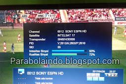 Frekuensi SONY ESPN HD Terbaru di Intelsat 17 66.5°E