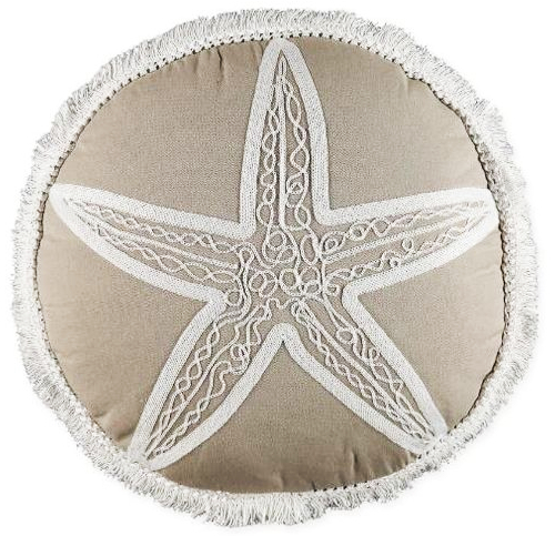 Round Embroidered Starfish Pillow Sand Beige Color