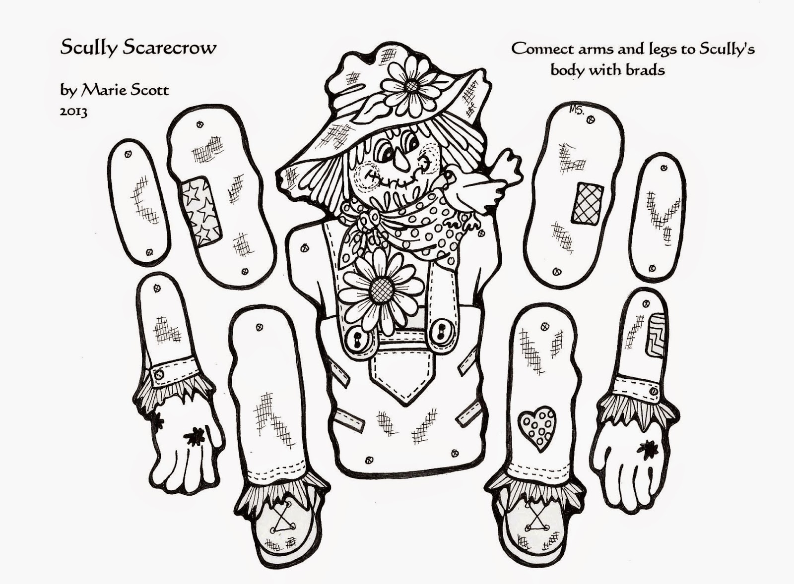 Serendipity hollow scarecrow craft for Printable scarecrow coloring pages