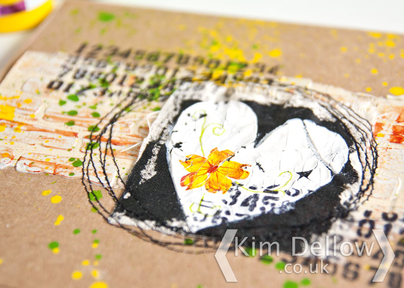 Close up of the mixed media card
