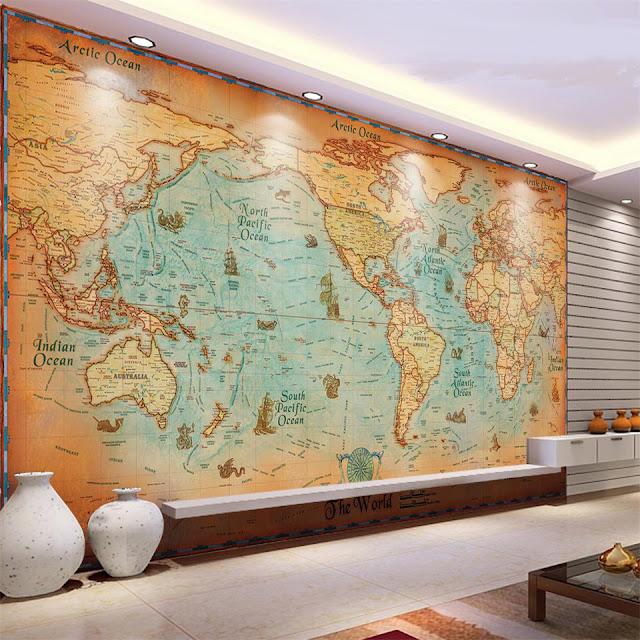 världskarta tapet vardagsrum fototapet
