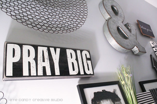 metal ampersand, pray big sign, black & white gallery wall ideas