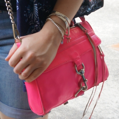 Denim shorts, Rebecca Minkoff neon pink mini MAC | AwayFromTheBlue