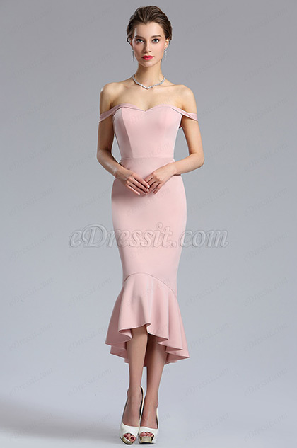 eDressit Rose Pink Off Shoulder Tea Length Prom Dress
