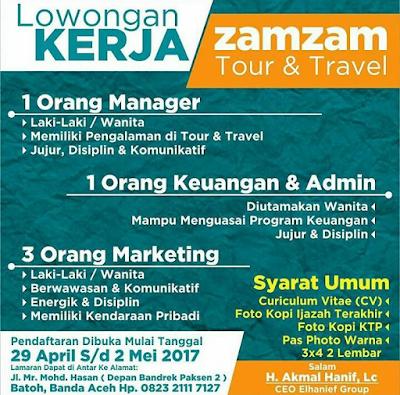 Lowongan Kerja pada ZAMZAM Tour & Travel
