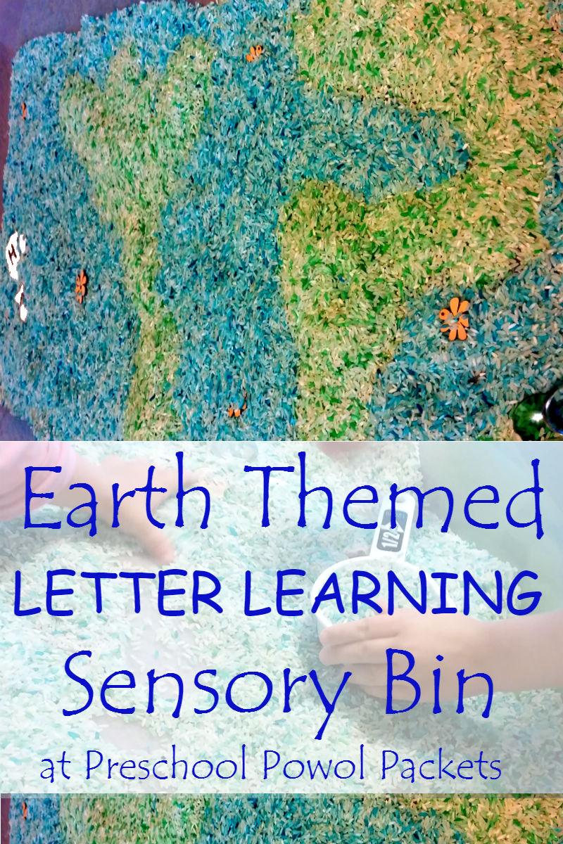 Earth Themed Preschool Letter Sensory Bin | Preschool Powol Packets