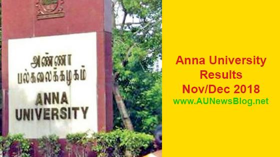 Anna University Results Nov Dec 2018 Jan 2019 UG PG R2013 R2017