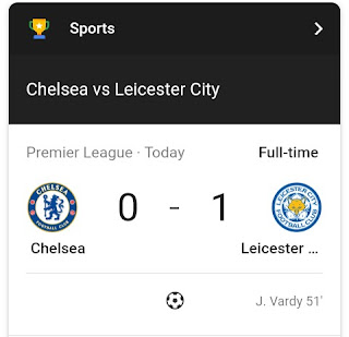Huge win for Leicester City as they defeats Chelsea in their European premier league Tie