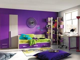 dormitorio morado para chica