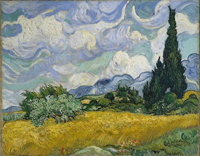 """Campo de trigo com ciprestes"" (1889): pintura de Vincent van Gogh (1853 - 1890) exposta no Metropolitan Museum of Art em Nova York."