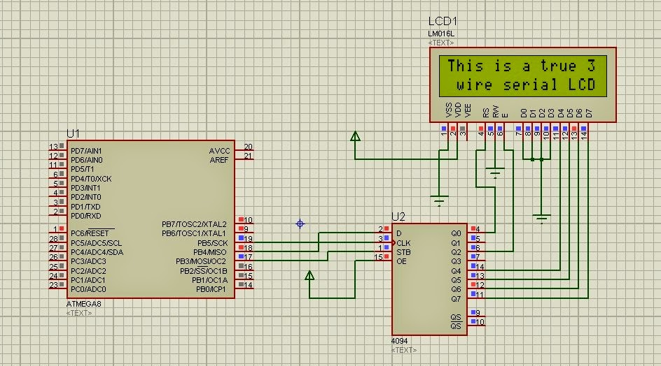 3 wire interface for 16x2 or 8x2 or any other HD44780 based LCDs