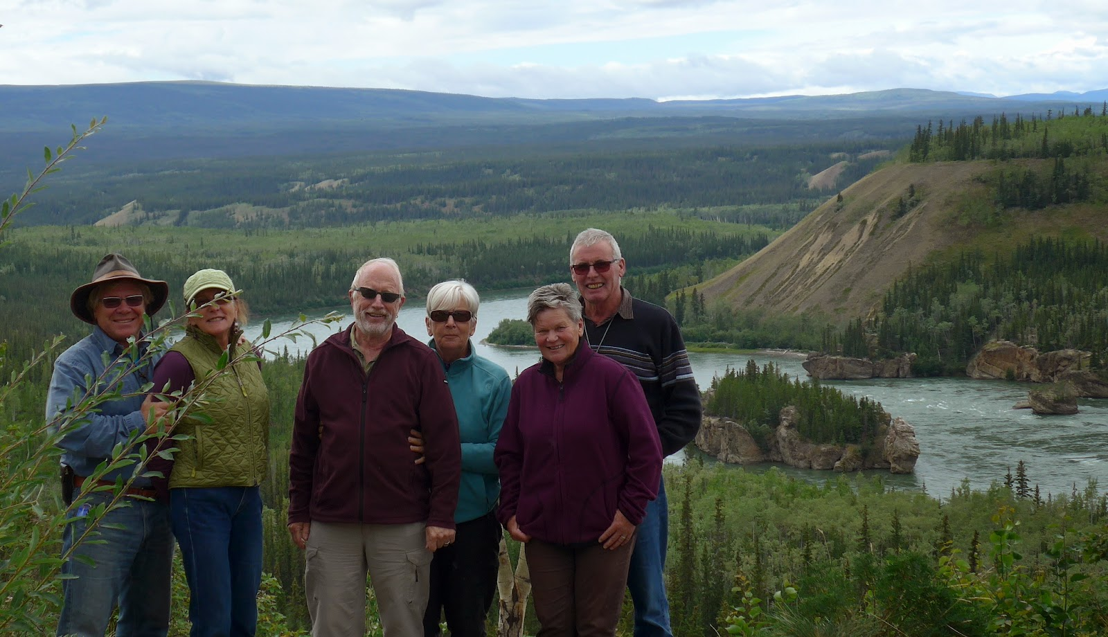 Anders, Liz, Christian, Annemarie, Lizbeth and Hansuli at Five Finger Rapids, Yukon Canada.