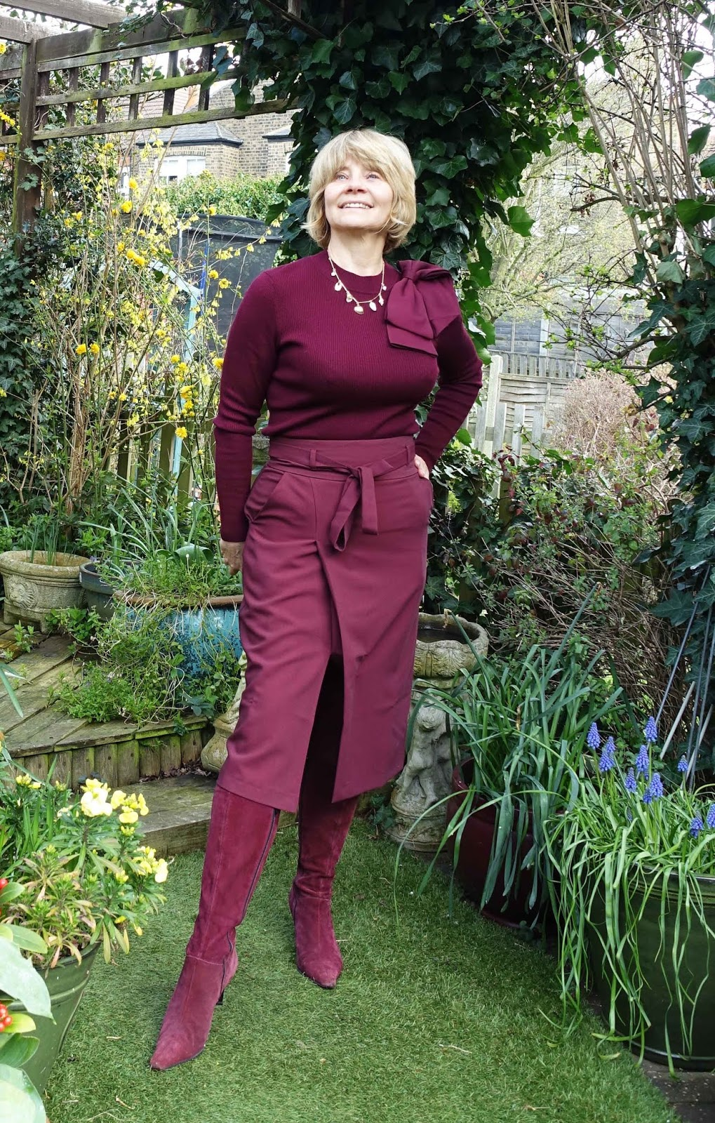 A monochrome outfit in burgundy worn by over-50s blogger Gail Hanlon from Is This Mutton?