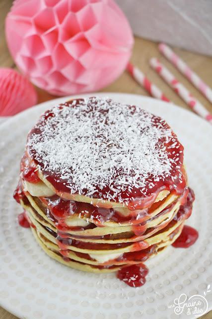 Pancakes Gelée Fraise Groseille Banane Coco Recette
