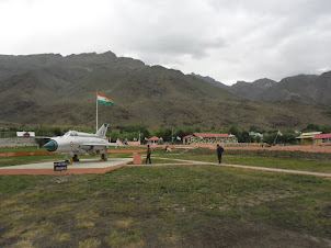 Fighter aircraft exhibit at Kargil War Museum.